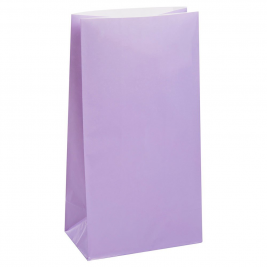 LAVENDER SOLID COLOUR PAPER PARTY BAGS - pack of 12
