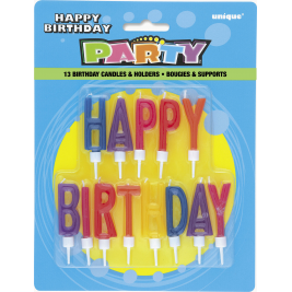 Letter Birthday Candles And Holders (13pk)
