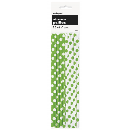 LIME  GREEN PAPER  PARTY  STRAWS DOTS - PACK OF 10
