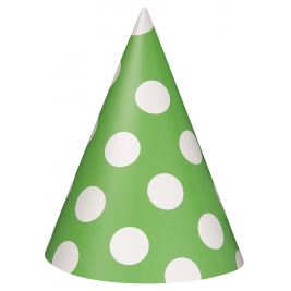 Lime Green Dots Party Hats (8pk)