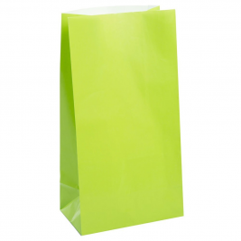LIME GREEN SOLID COLOUR PAPER PARTY BAGS - pack of 12