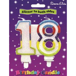 Milestone Birthday Candle - Number 18 (Sold in 6s)