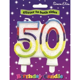 Milestone Birthday Candle - Number 50 (Sold in 6s)