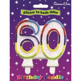 Milestone Birthday Candle - Number 60 (Sold in 6s)
