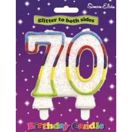 Milestone Birthday Candle - Number 70 (Sold in 6s)