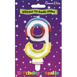 Milestone Double Sided Glitter Birthday Candle - Number 9 (Sold in 6s)