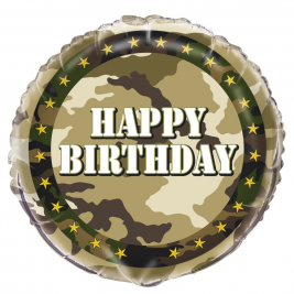 Military Camo Foil Balloon Packaged 18