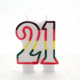Multicoloured Glitter Number  21  Candle