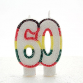 Multicoloured Glitter Number  60  Candle