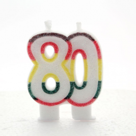 Multicoloured Glitter Number 70 Candle