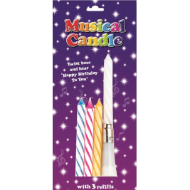 Musical Birthday Candles  - Assorted Colours (Sold in 6s)