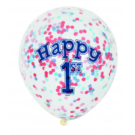 Nautical 1st Birthday Clear Balloons With Confetti 12