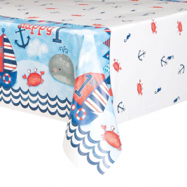 Nautical 1st Birthday Plastic Tablecover 54