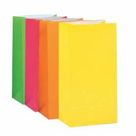 NEON PAPER PARTY BAGS  - pack of 10