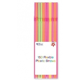 Pack of 150 Flexible Plastic Straws