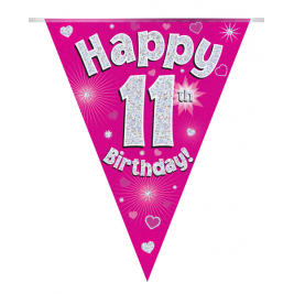 Party Bunting Happy 11th Birthday Pink Holographic 11 flags 3.9m