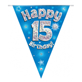 Party Bunting Happy 15th Birthday Blue Holographic 11 flags 3.9m