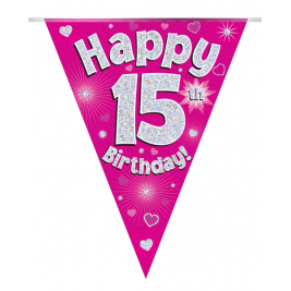 Party Bunting Happy 15th Birthday Pink Holographic 11 flags 3.9m