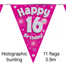 Party Bunting Happy 16th Birthday Pink Holographic 11 flags 3.9m