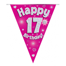 Party Bunting Happy 17th Birthday Pink Holographic 11 flags 3.9m