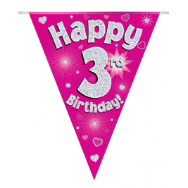 Party Bunting Happy 3rd Birthday Pink Holographic 11 flags 3.9m