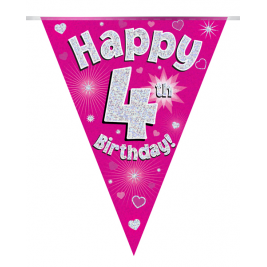 Party Bunting Happy 4th Birthday Pink Holographic 11 flags 3.9m
