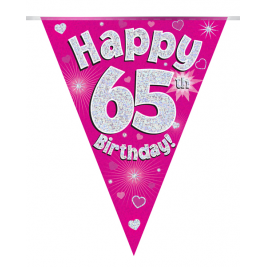 Party Bunting Happy 65th Birthday Pink Holographic 11 flags 3.9m
