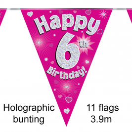 Happy 6th Birthday Pink Holographic Party Bunting 11 flags 3.9m