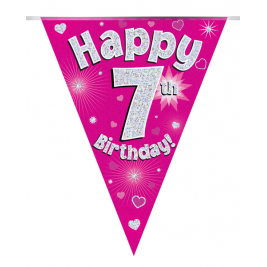 Party Bunting Happy 7th Birthday Pink Holographic 11 flags 3.9m