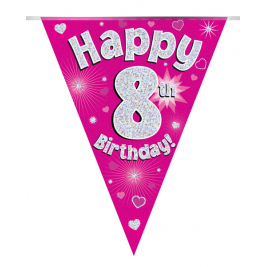 Party Bunting Happy 8th Birthday Pink Holographic 11 flags 3.9m