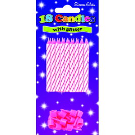 Pink Birthday Candles with Glitter (18pk)
