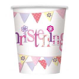 Pink Christening Cups 9oz (8pk)