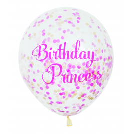 Pink Princess Clear Balloons With Confetti 12