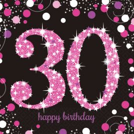 Pink Sparkling Celebration 30th Birthday Luncheon Napkins 33cm - Pack of 16