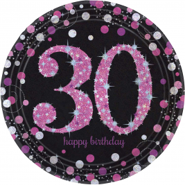 Pink Sparkling Celebration 30th Birthday Paper Plates - Pack of 8