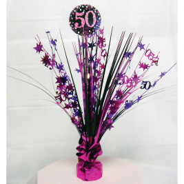Pink Sparkling Celebration 50th Centrepiece Spray 45cm
