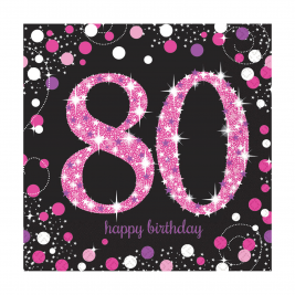 Pink Sparkling Celebration 80th Luncheon Napkins 33cm - Pack of 16