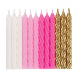 Pink, White & Gold Spiral Candles Pack of 24