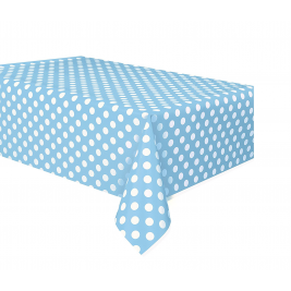Powder Blue Dots Dots Plastic Tablecover