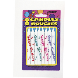 Printed Birthday Candles Assorted Colours (8pk)