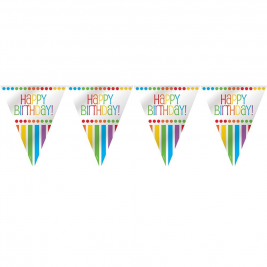 Rainbow Birthday Plastic Flag Banner Flag Banner 12ft