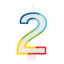 Rainbow Border Number 2 Birthday Candle