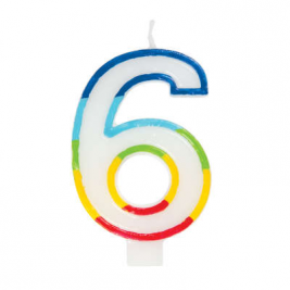 Rainbow Border Number 6 Birthday Candle
