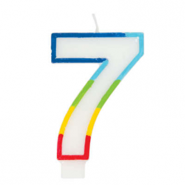 Rainbow Border Number 7 Birthday Candle