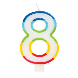 Rainbow Border Number 8 Birthday Candle