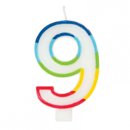 Rainbow Border Number 9 Birthday Candle