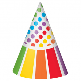 Rainbow Birthday Party Cone Hats x 8