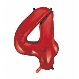 Red Foil Balloon Number 4 - 34