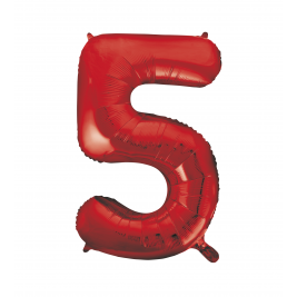 Red Foil Balloon Number 5 - 34