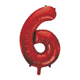 Red Foil Balloon Number 6 - 34